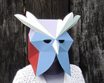 Owl mask pattern Printable mask Bachelorette Party Owl origami DIY gift summer party Animal head woodland animals papercraft mask pattern