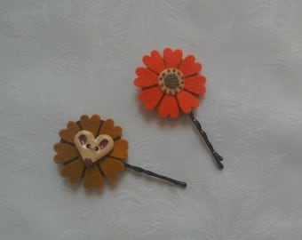 Fabric flowers, hair flowers, autumn colours, brown, orange, hand stitched