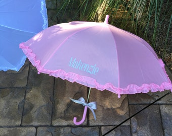 Kids personalized ruffle umbrella with Name- Child - Toddler- Children -Kid umbrella -Pink or White - Toddler Umbrella