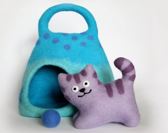 Soft toy cat, Toy cat, Cat cave, Blue, Lilac , Funny cat, Cute cat, Kids gift , Handmade