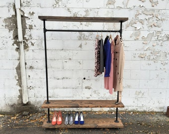 """Iron Pipe Clothes Rack """"Triple Tier"""""""