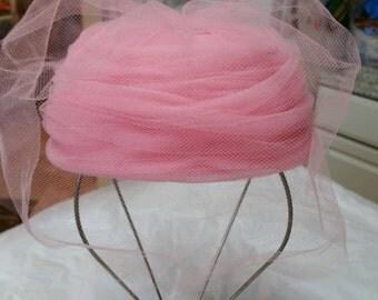 Pink Pill Box Hat w Netting