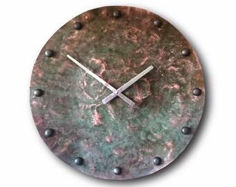 large copper clock big wall clock home decor original clock handmade clock - Large Decorative Wall Clocks