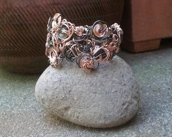 "Wire Jewelry, Bracelet, Handmade- Rose Gold, Hematite (L-8"", W- 2"")"