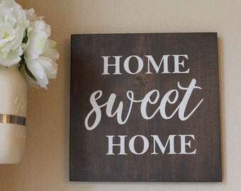 Home Sweet Home Wood Sign, 12x12 Wood Sign, Farmhouse Decor, Valentines Gift, Fixer Upper Decor, Home Sweet Home Decor, Mothers Day Gift