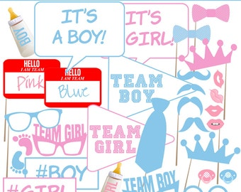 Printable Photo Booth Props, Gender Reveal photo prop, Shower photo props, Instant Download PDF File
