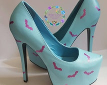 Blue shoes with pink bats custom made high heels