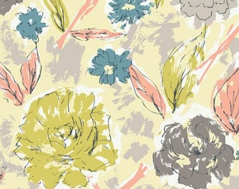 KNIT Fabric: Art Gallery Paper Flowers Aurora Cotton Lycra Knit Fabric. Sold by the 1/2 Yard