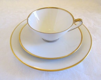 MCM Alka Kunst Bavaria Carina Cup, Saucer, Dessert Plate, Ivory Gold Trim Trio- West Germany
