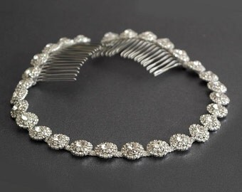 Wedding headpiece, Silver Wedding Headband, Multi Color Rhinestone Headband, Hair Tiara ,Hair Jewelry, Bridesmaid, Hair Accessory-HA019
