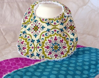 Extra Soft! Free Shipping! Bib and Burp Cloth Set: Green Medallion and Purple and Turquoise Blue Polka Dots