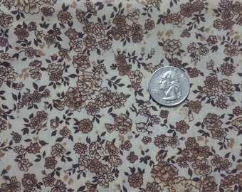 "BROWN & CREAM #1 Fabric,1 yd x 44"",Quilt fabric,Vintage fabric"