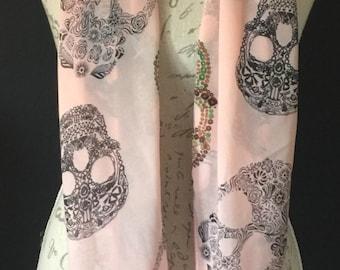 Sugar skull pink single scarf