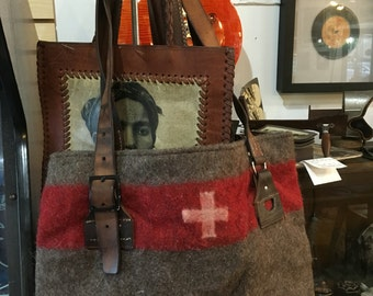 Vintage Swiss Bag with Leather Straps