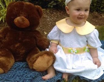 White Embroidered Girls Dress, White Cotton Dress, Baby Girl Gift, Baby Shower Gift, Birthday Dress, Organic Clothing