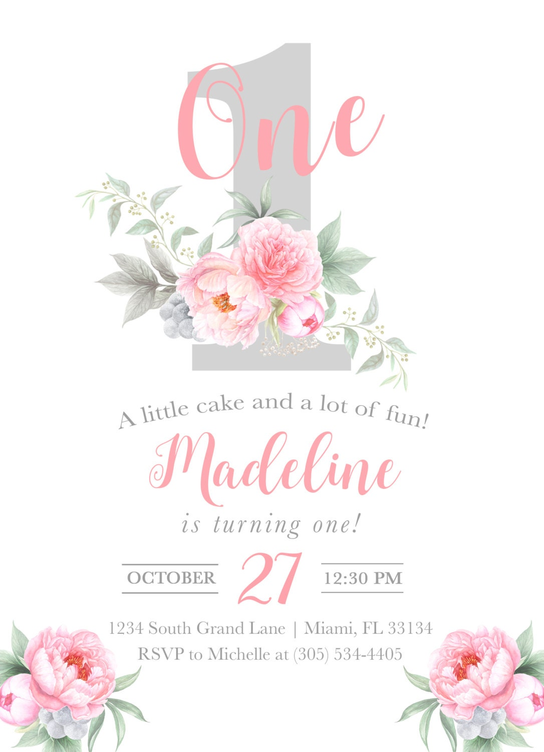 first birthday invitation girl floral first birthday invitation number 1 one first birthday. Black Bedroom Furniture Sets. Home Design Ideas