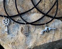 Choker Necklace Mens Necklace Hamsa Choker with Charm Choker jewelry Key Choker Gun Choker Hamsa hand Choker note Choker Treble Clef Choker