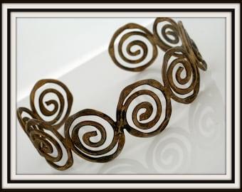Vintage handmade spiral design brass cuff BRACELET