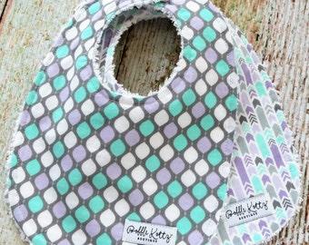 Baby Bibs - Baby Girl Bibs - Purple Mint Grey Bibs - Arrow Bibs - Teardrop Bibs - Chenille Bibs - Baby Shower Gift