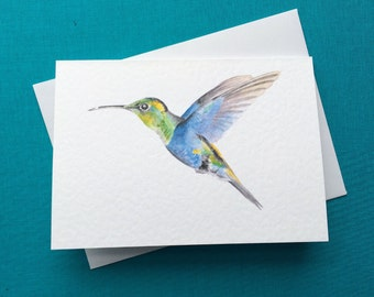 Hummingbird Greetings Card A6 4x6inches Watercolour Painting