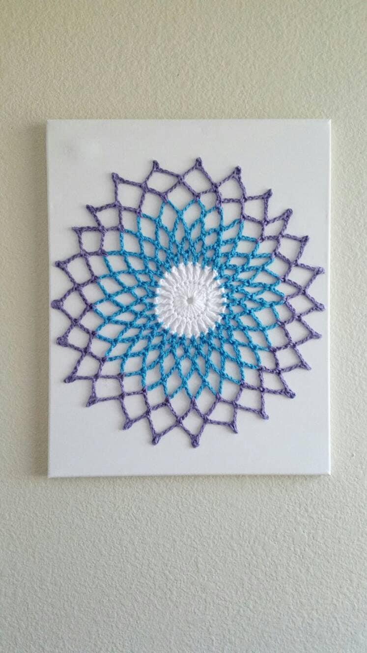 wall art mandala crochet wall hanging wall hanging wall. Black Bedroom Furniture Sets. Home Design Ideas