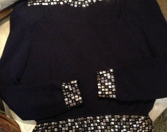 St.Johns diamante studded 1980's vintage knitted top. Quality. Designer. 34 bust