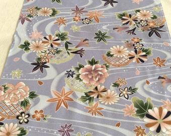 Vintage Kimono Fabric, Kimono Cloth, Japanese Fabric, Lavender Flowing Water