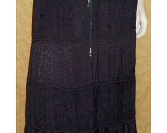 Vintage hippie boho peasant festival tiered skirt ~ Black~ L/XL