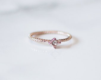Dainty Rose Gold Gem Ring