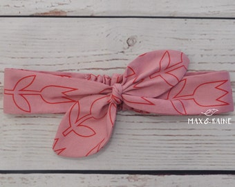 Pink Tulips Knotted Headband.