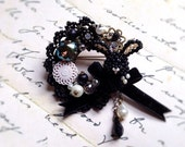 Free shipping -Black Rabbit brooch - made with beads motif