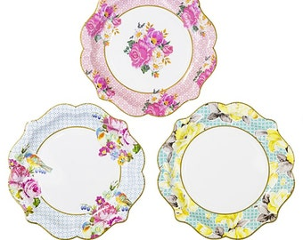 Party Plates, Floral Paper Plates, Bridal Tea, Wedding Shower, Garden Party, Shabby Chic Party, Hen Party, Floral Wedding, Tea Party