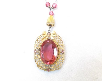 Vintage art deco pink glass filligree necklace