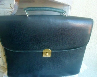 Beautiful Leather SATCHEL,dark green satchel 90's,French briefcase