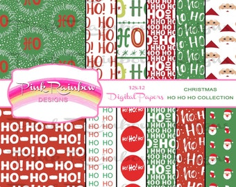 Merry Christmas Ho Ho Ho Digital Scrapbook Pattern Paper Collection | Santa Claus | Red Green | Winter