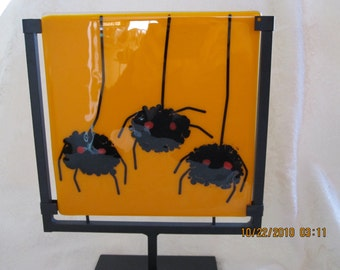 Fused glass Halloween plate with black spiders