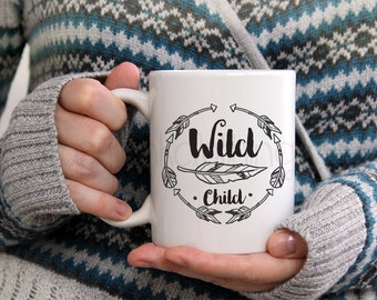 Wild Child Hippie Mug - Wild Child Mug - Arrow Print Mug - Feather Print Mug -Boho Coffee Mug - Coffee Cup - Boho Coffee Cup