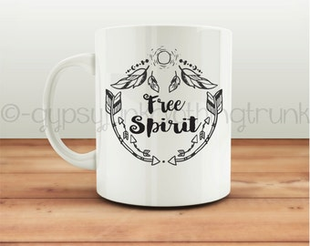 Free Spirit Coffee Mug - Boho Mug - Arrow Print Mug - Feather Print Mug - Coffee Mug - Coffee Cup - Feather Print Cup -