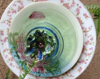 Glass flower plate //Recycled Flower Art // Garden Flower Art // Plate Yard Art //