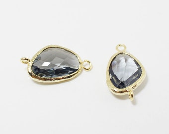 G002515/Charcoal/Gold plated over brass/Triangle faceted glass Connector/21x11mm/2pcs