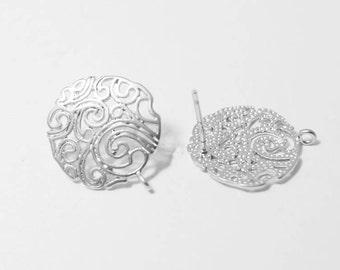 E0095/Anti-Tarnished Matte Rhodium Plating Over Brass/Round Paisley Earrings /14x17m/1 pair