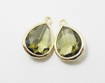 G000320P/Khaki/Gold plated over brass/Drop faceted glass pendant/11.4mm x 17.1mm /2pcs
