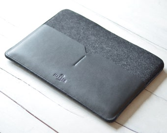 "Slim Fit MacBook 11"" Air Laptop Sleeve Cover Handmade Leather Laptop Case, Black Edition"