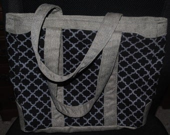 Large Black and Grey Tote - REDUCED SHIPPING*