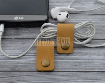 FREE SHIPPING - Set of Two Tan Leather Cord Organizers - Cord Keepers