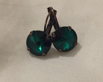 Emerald green 12mm Swarovski Crystal earrings