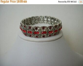 ON SALE Vintage Sparkling Red Rhinestones Stretch Bracelet S # 361