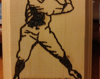 Baseball Wood Burning, Wood Burning Art, Sports Gift, Sport Decor, Wood Wall Art, Baseball Mom, Wood Burned, Baseball Gift, Birthday Gift