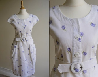 1980s White and Purple Floral Dress * Size Medium