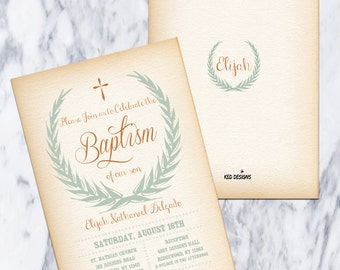 Printable-Baptism-Christening-Dedication-Invitation-Flower wreath-Olive branch wreath-Boy-Vintagefeel-Digital-Brown-Green-Custom-Personalize